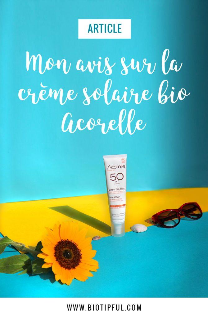 Crème solaire bio Acorelle pour le corps